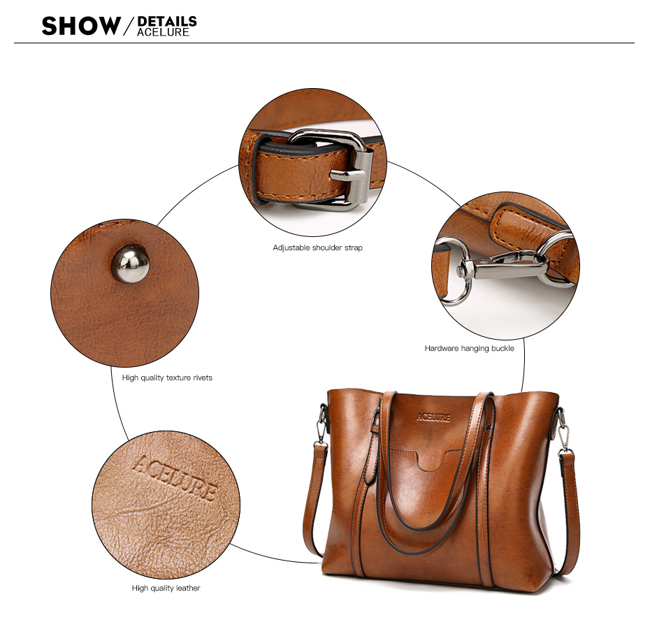 ACELURE Women bag Oil wax Women's Leather Handbags Luxury Lady Hand Bags With Purse Pocket Women messenger bag Big Tote Sac Bols 6