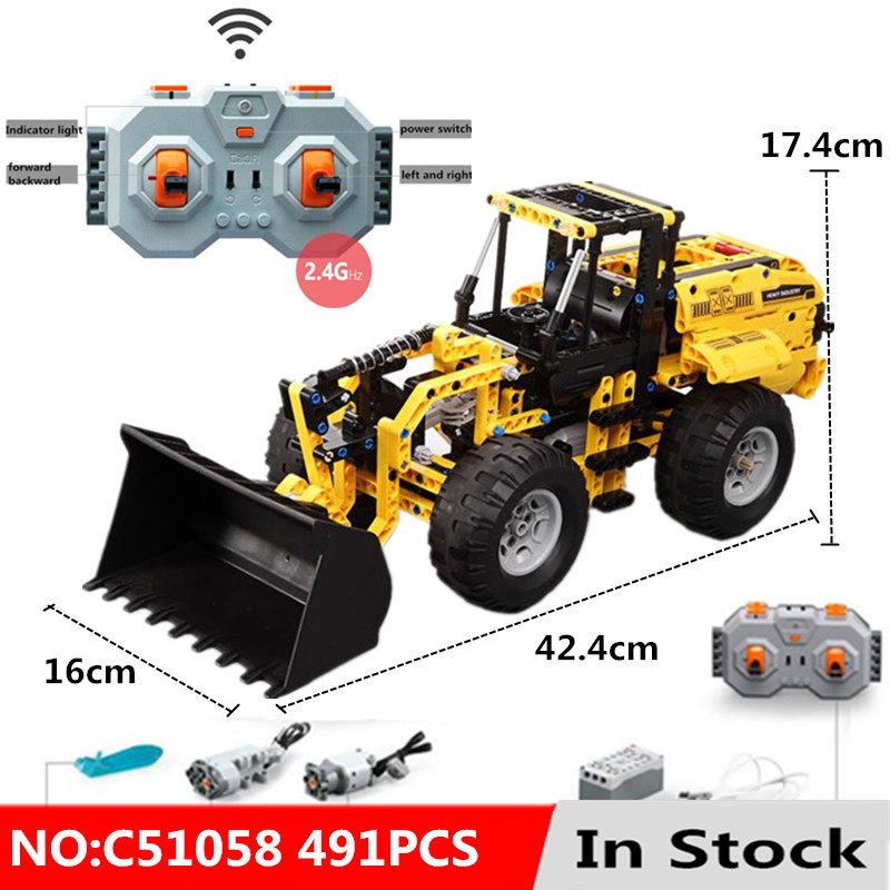 Technic Engineering Vehicle RC Remote Control Bulldozer Excavator Building Blocks Toys for Children Compatible With L Brand-in Blocks from Toys & Hobbies    1