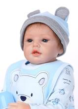 New Year Gift 22inch 55cm Reborn Baby Girl Doll With Sky Blue Real Cotton Made Clothes Popular Reborn Babies Bebe Best Girl Gift