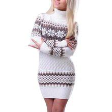 WENYUJH 2019 Autumn Winter Sweater Women Long Sleeve Sweater Dress Female Long Patchwork Snowflake Knitwear Turtleneck Pullover
