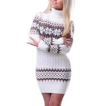 WENYUJH 2019 Autumn Winter Sweater Women Long Sleeve Sweater Dress Female Long Patchwork Snowflake Knitwear Turtleneck Pullover