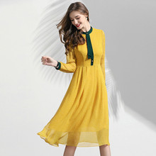 Chiffon Dress Women Spring Summer 2019 New Yellow Dot Patchwork Stand Collar Long Sleeved Slim A-Line Casual Dress Over The Knee party dress women spring summer 2019 new mesh embroidered sequined stand collar short sleeved slim a line long dress s xl