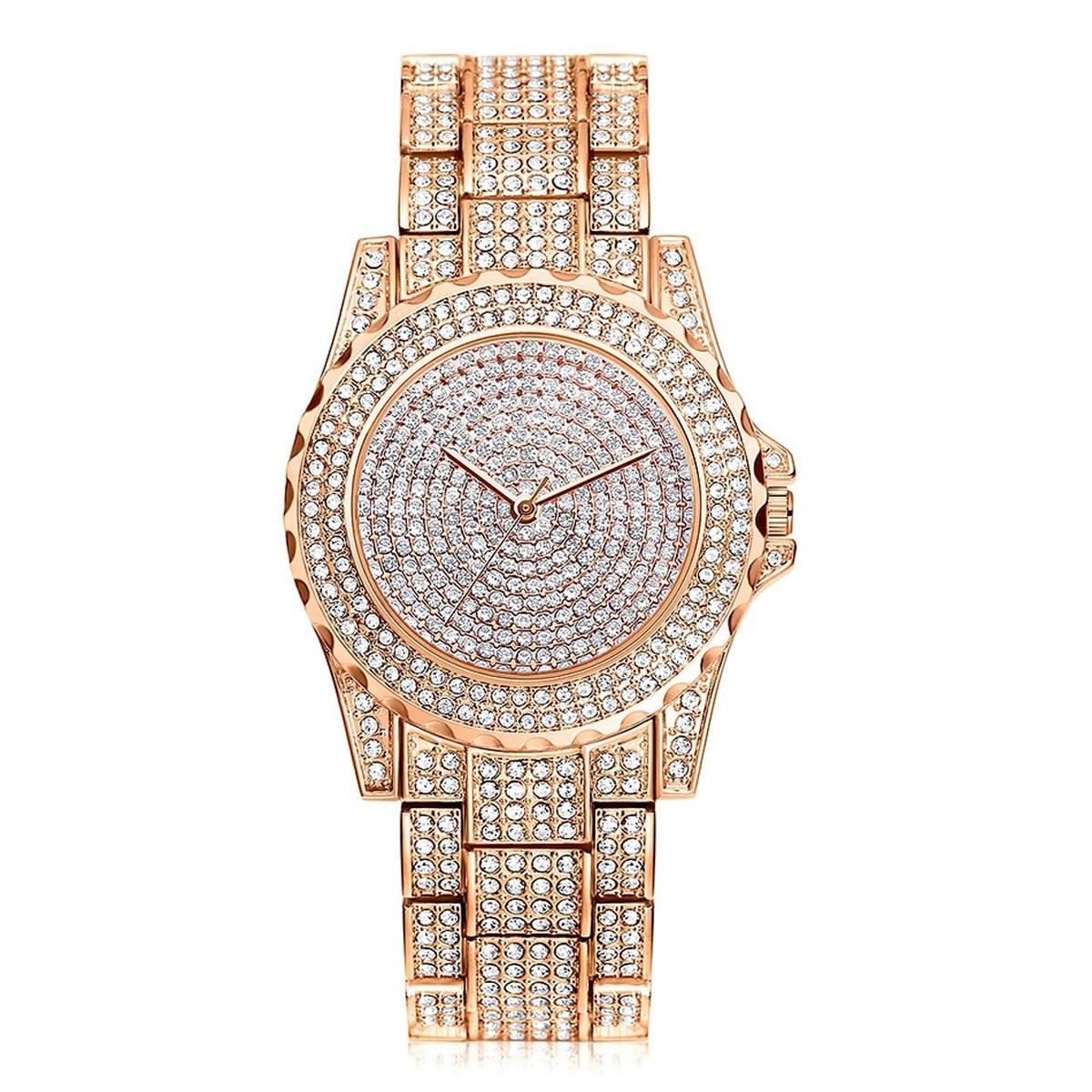 40809c06450 ... Luxo de Cristal Cheio de Bling Strass Diamante Relógios Mostrador Redondo  Aço Inoxidável Vestido Relógio Pulso Quartzo Feminino Presente ...