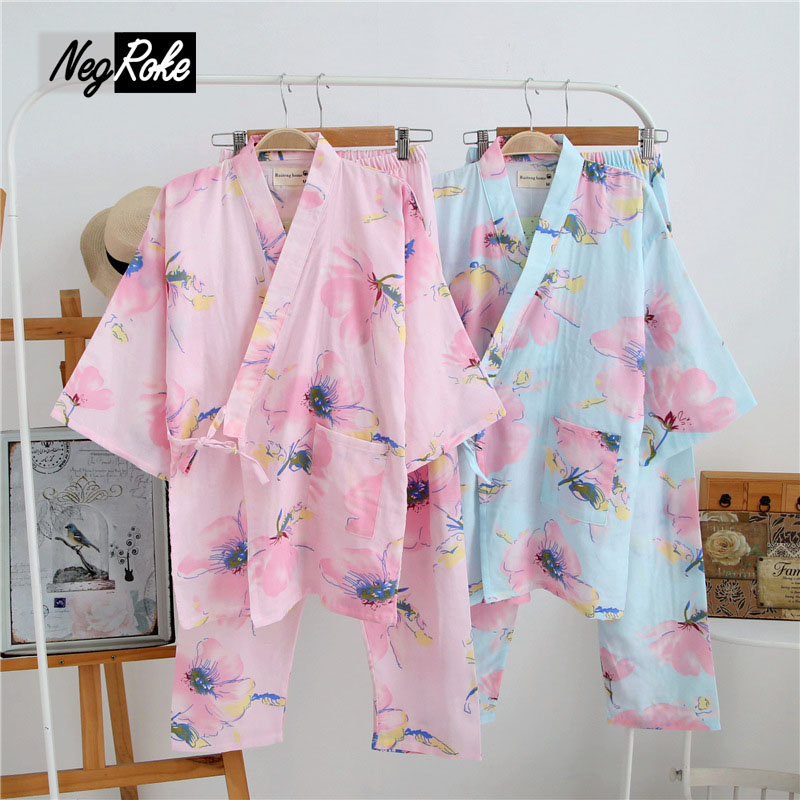 New Spring 100% cotton kimono pajamas sets for women double gauze flowers simple women sleepwear pijama casual pyjamas women