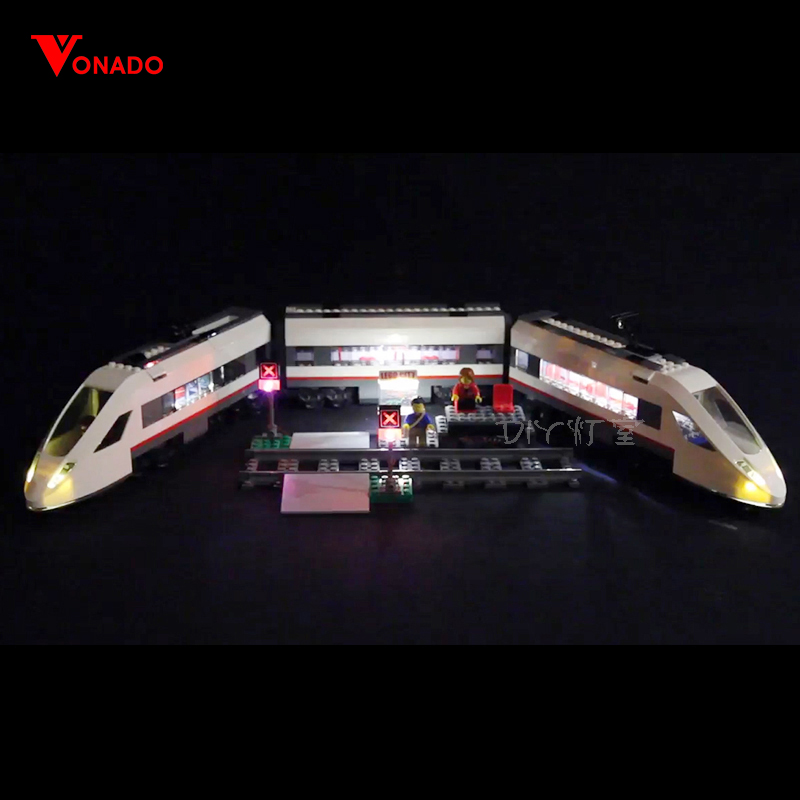 Led Light For Lego 60051 Building Bricks Blocks Compatible 02010 Cities High speed passenger Train Toys