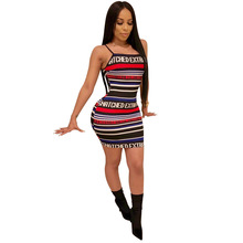 цена Letter Print Bodycon Cami Dress 2019 Summer Slim Spaghetti Strap Bodycon Dress Sexy Sleeveless Striped Women Dress