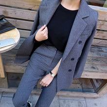 Модные деловые брючные костюмы, Униформа, Официальный двубортный пиджак и длинные брюки, черный блейзер, набор для женщин, OL, 2 предмета, костюмы