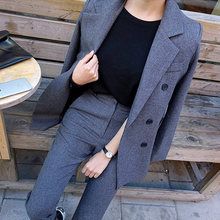 Fashion Business Broek Past Uniform Formele Double Breasted Jas en Lange Broek Zwarte Blazer Set Vrouwen OL 2 Twee Stukken suits(China)