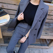 Fashion Business Pant Suits Uniform Formal Double Breasted J