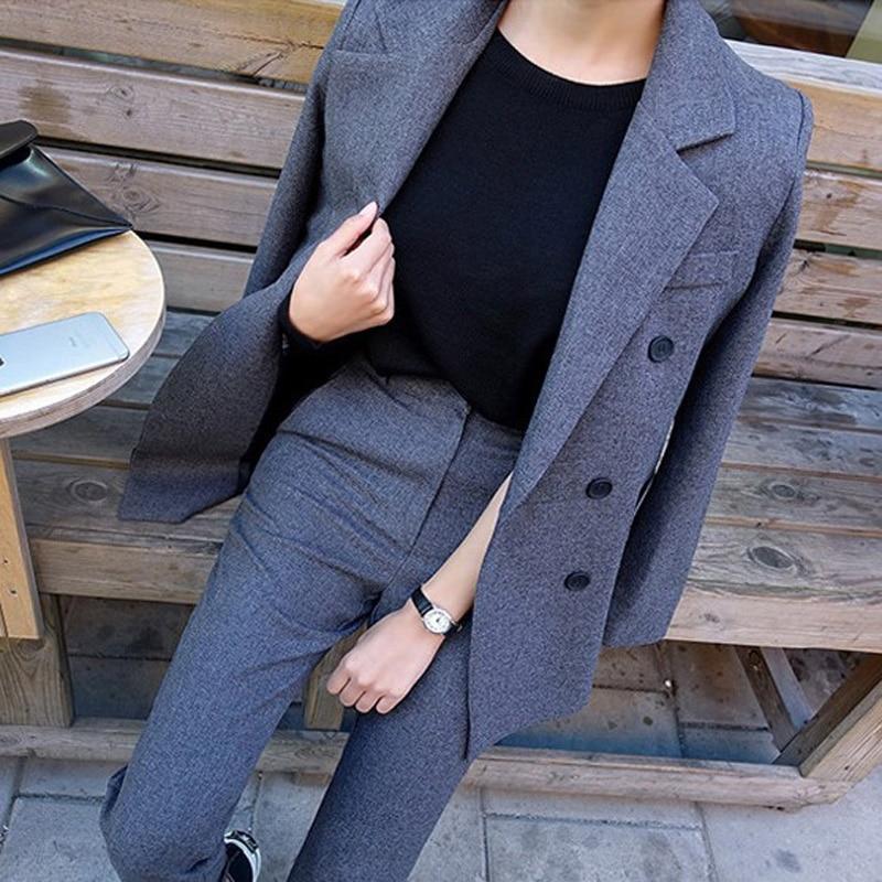 Mode Business pantalon costumes uniforme formel Double boutonnage veste et Long pantalon noir Blazer ensemble femmes OL 2 deux pièces costumes