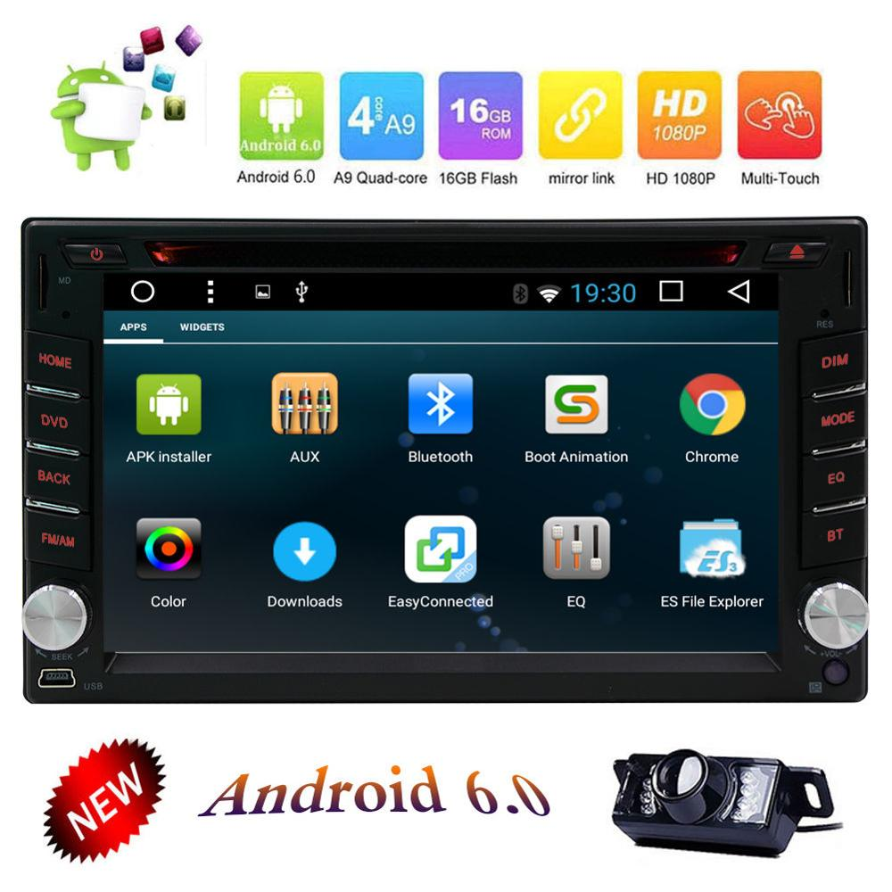 GPS Navi Android 6.0 WIFI Double 2DIN In Dash Car DVD Stereo Radio Bluetooth+CAM