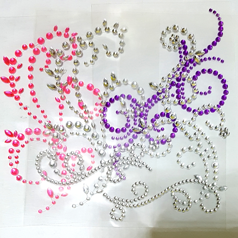 10 Sheets Flourish Flower Rhinestone Sticker Crystal