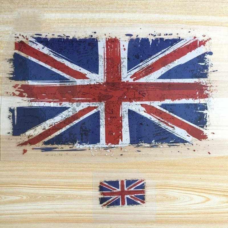 تي شيرت مطبوع عليه علم المملكة المتحدة رفيع مزين بمادة الكلوريد متعدد الفينيل ذاتية الصنع لصقات لراكبي الدراجات للملابس ملابس مطبوعة بأشكال نقل الحرارة للملصقات