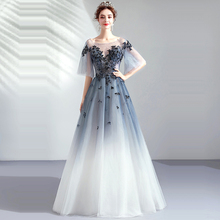 Evening Dress Boat Neck Women Party Dresses Crystal Hollow Robe De Soiree 2019 Long Plus Size Half-sleeve Gowns E654