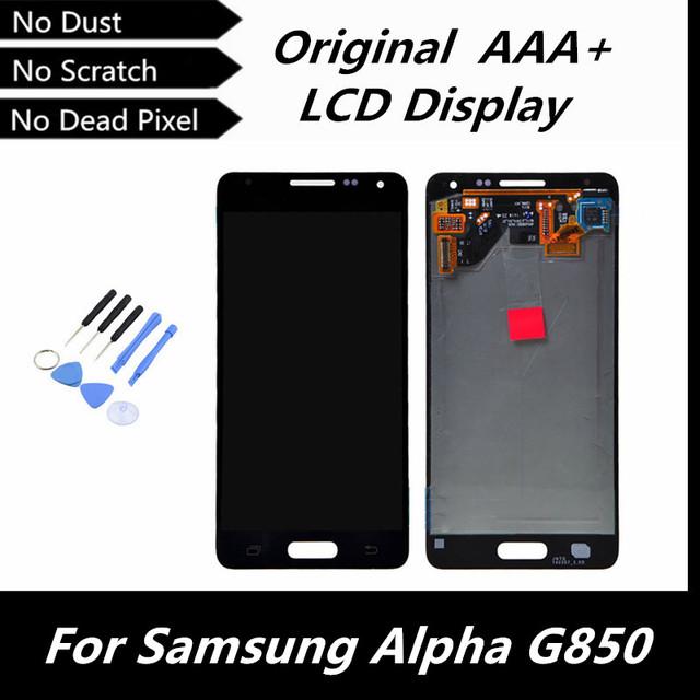 100% display lcd original para samsung galaxy alpha g850 g850f g850m g850k g850s + toque digitador assembléia branco/cinza/ouro