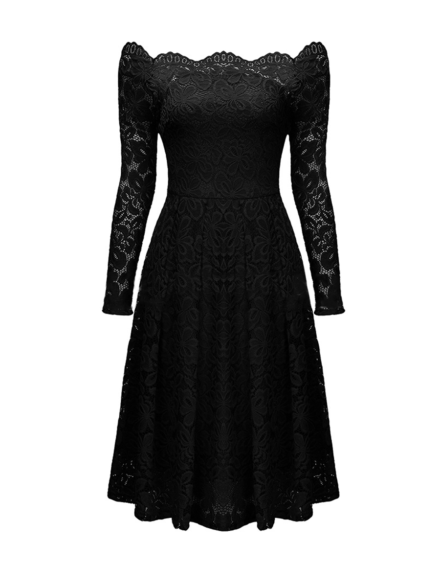 Black dress for party - New Scalloped Off Shoulder Hollow Out Plain Lace Dress Long Sleeves Vintage Women Dresses Party Formal