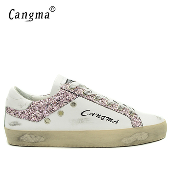CANGMA Designer Brand Sneakers Men Shoes White Footwear Male Sequin Flat Genuine Leather Casual Shoes For Man Handmade Shoes