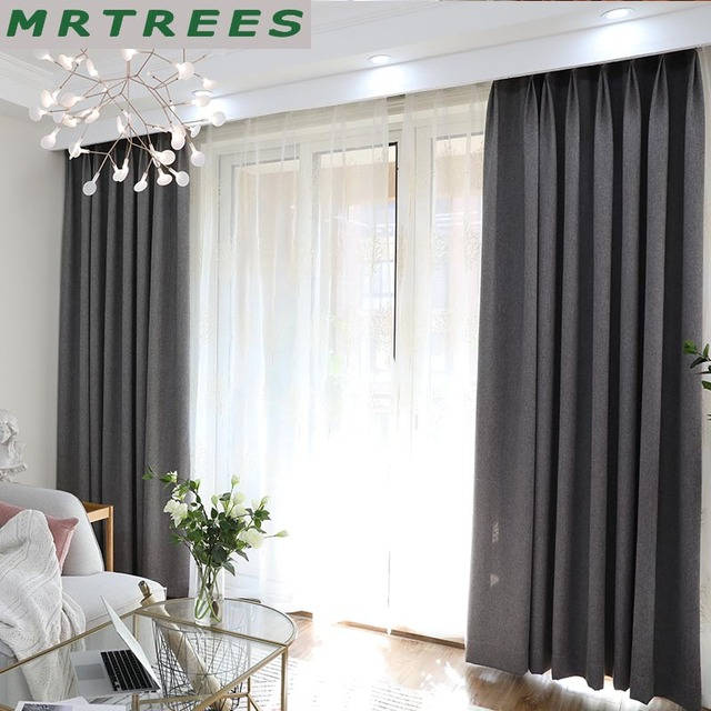 US $19.66 64% OFF|MRTREES Solid Blackout Curtains for Living Room Bedroom  Modern Blackout Curtains for Window Curtains drapes Blinds Shading 80%-in  ...