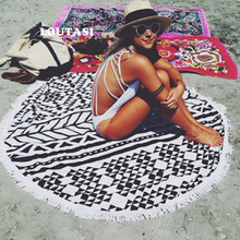 LOUTASI Microfiber Round Beach Towel Sport Scarf Bohemian Circle Serviette De Plage Toalla Playa Swimming Bath Towel With Tassel watermelon beach towel with microfiber tassel