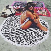 LOUTASI Toalla De Playa redonda De microfibra bufanda De deporte círculo bohemio servilleta De Plage Toalla Playa Toalla De baño para natación con borla