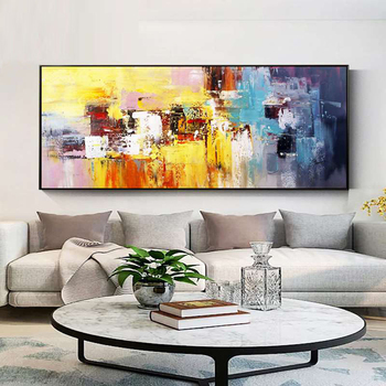 100% Hand Painted Abstract Colorful Art Painting On Canvas Wall Art Wall Adornment Pictures Painting For Live Room Home Decor