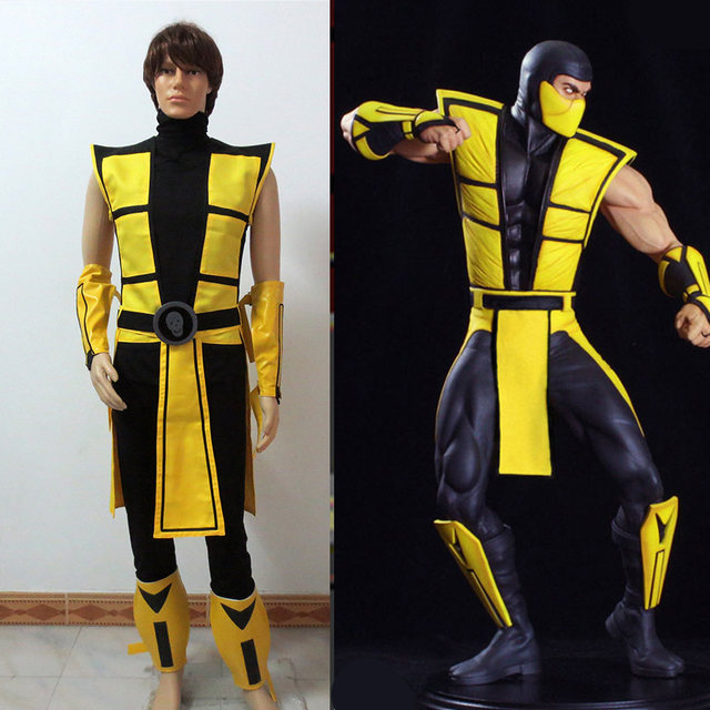 scorpion mortal kombat 3 yellow outfit cosplay costume tailor made