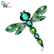 Vintage 3 Colors Crystal Rhinestone Dragonfly Brooches for Women Cloth Brooch Pins Jewelry Accessories Gift