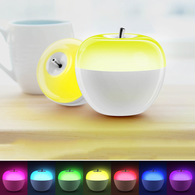 Originality Apple Shape Blowing sensor Lamp Brightness Adjustable LED Night light Colorful Changing Blow bedside Atmosphere Lamp