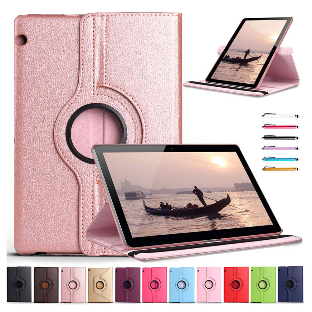 Eagwell 360 Rotating Case For Huawei Mediapad T3 10 9.6 Litchi PU Leather Flip Stand Tablet Cover Skin for Huawei T3 10 Case ultra thin slim stand litchi grain pu leather skin case with keyboard station cover for lenovo ideapad miix 320 10 1 tablet pc