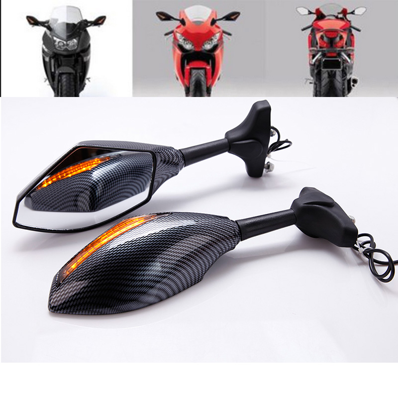 Carbon Mirror w/ Arrow Turn Signal For <font><b>Suzuki</b></font> <font><b>GSXR</b></font> 1000 1300 600 <font><b>750</b></font> GSX 1400 600F 750F Katana Hayabusa 1300R 1300RZ Limited image