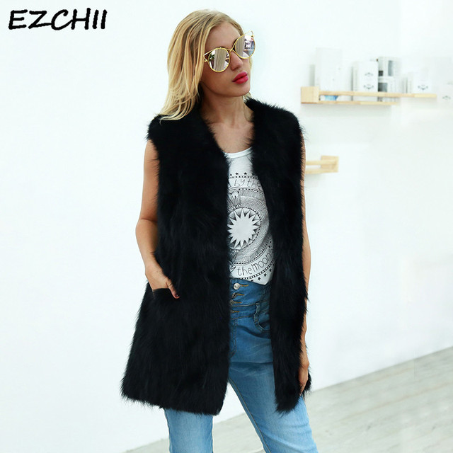 Autumn Winter Women Faux Fur Vest Women's Sleeveless Jacket with Pockets Black Colete Feminino Plus Size xxxl Casacas Para Mujer