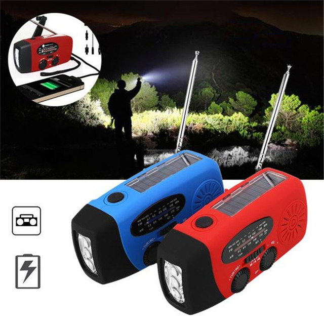 Dínamo de la Manivela Accionada Solar portatil digital portátil de bolsillo AM/FM/WB Radio Linterna LED Cargador de Celular teléfono
