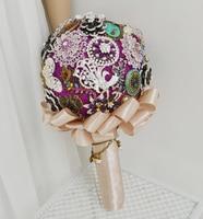 Высокое качество цветы свадьбы невеста с цветами в руках роскошные серебряные броши из бисера с цветами в руках