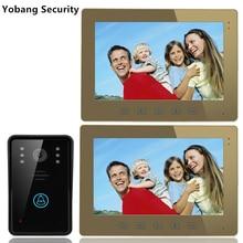 Yobang Security freeship 10″ video intercom security system hands-free monitor color screen intercom system video door phone