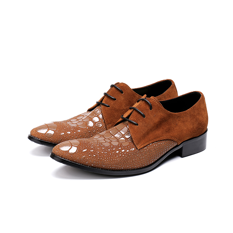 Ayakk.'ten Resmi Ayakkabılar'de El yapımı İtalyan erkek elbise ayakkabı nubuk hakiki deri ayakkabı erkekler resmi lace up kahverengi elbise erkekler ayakkabı timsah boyutu 47'da  Grup 1