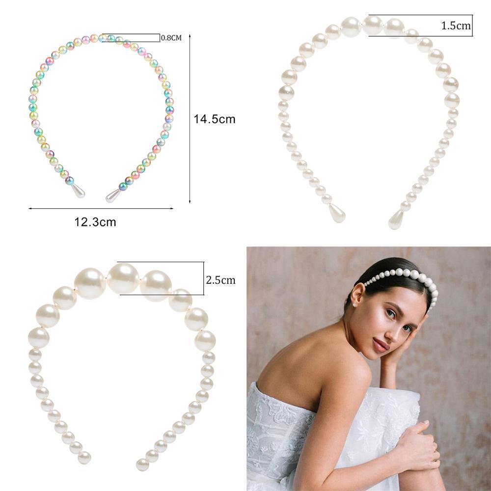 Women Elegant Big Pearl Headband Girls Hair Hoop Accessories Hair Band Decor