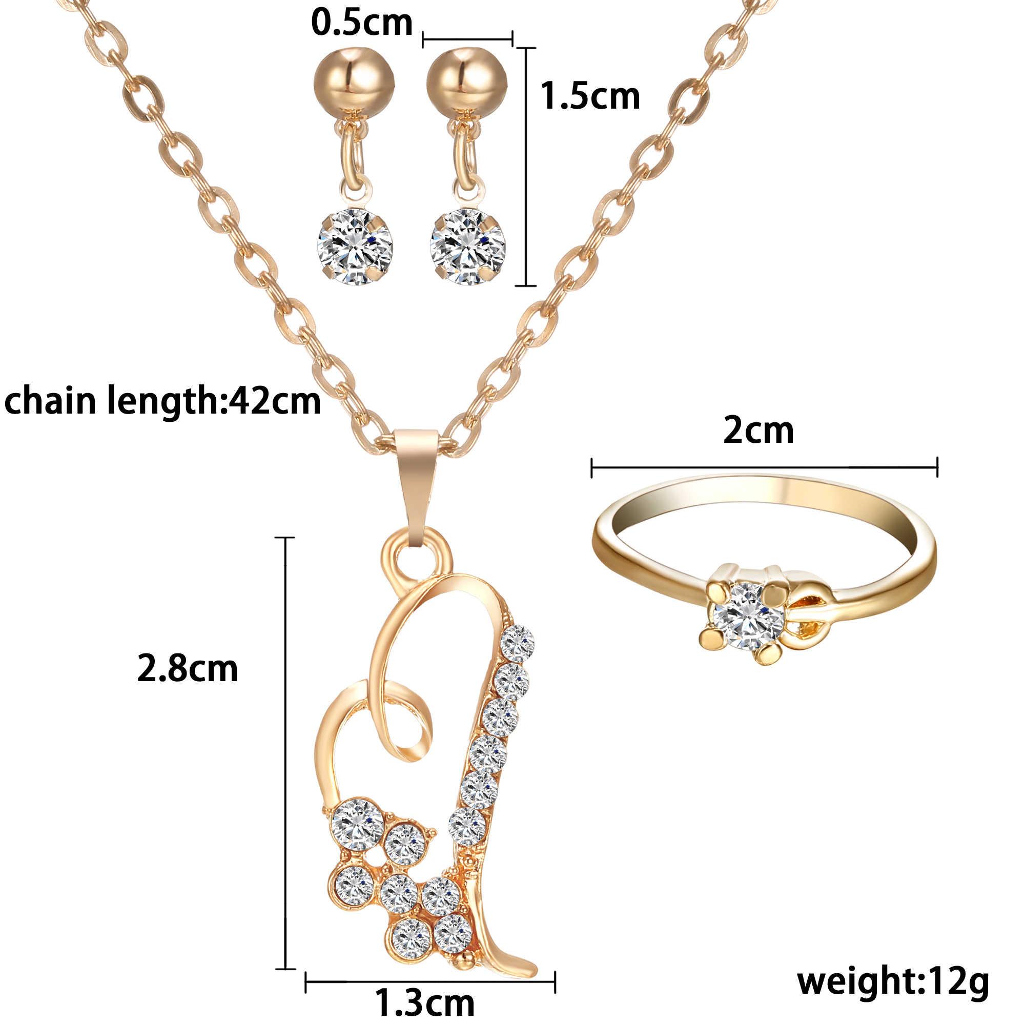 רומנטי לב תליון שרשראות תכשיטי סט מעולה עגיל טבעות סט לנשים מסיבת חתונת אירוסין תכשיטים