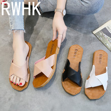 RWHK 2019 new Korean version of the simple word open toe flat slippers women wear fashion soft bottom beach drag B337