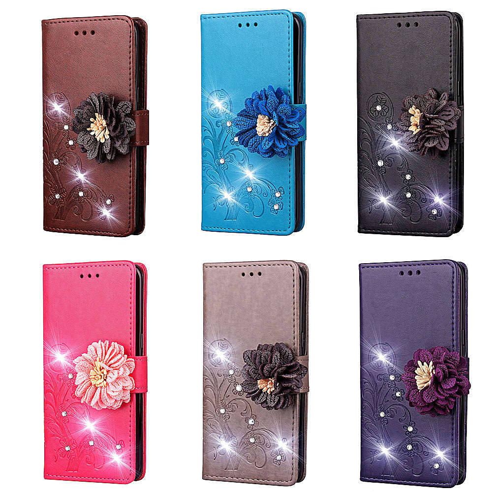 Купить Для samsung A40 чехол с крышкой Роскошный кожаный кошелек Lucky Clover узор блестящий цветок чехол для samsung Galaxy A40 смартфон MS на Алиэкспресс