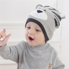 TBwish Baby Cap Gray wool hat Baby Boys Girls knitted tiger hat child bonnet Warm hat Kids Beanie Toddler Cap For 3-24M