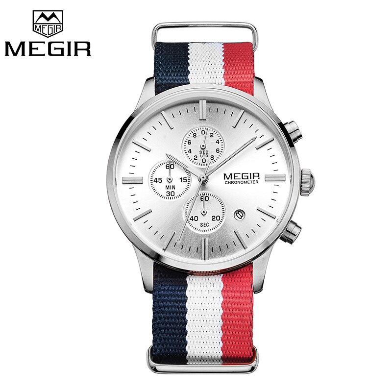 Prix pour Megir d'origine hommes montre femmes montres mode sport quartz montres bracelet en toile montre-bracelet relogio masculino horloge hommes étudiants
