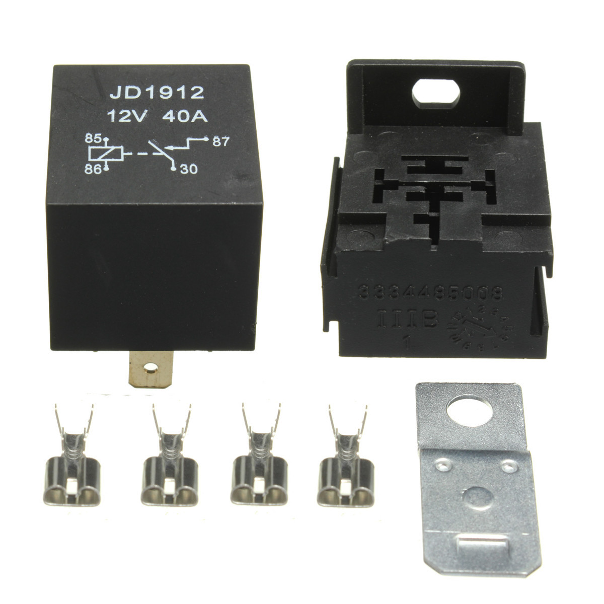Closeout 40a Amp 12v 4 Pin Relay Socket Base Terminals For Car Van Prong Pigtail Motorcycle Boat Switches