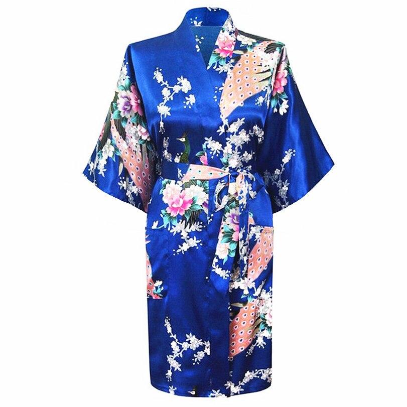 Blue Silk Long Bathrobe Women Wedding Bride Bridesmaid Robe Nightgown Sleepwear Flower Kimono Size S M L XL XXL XXXL YF3035