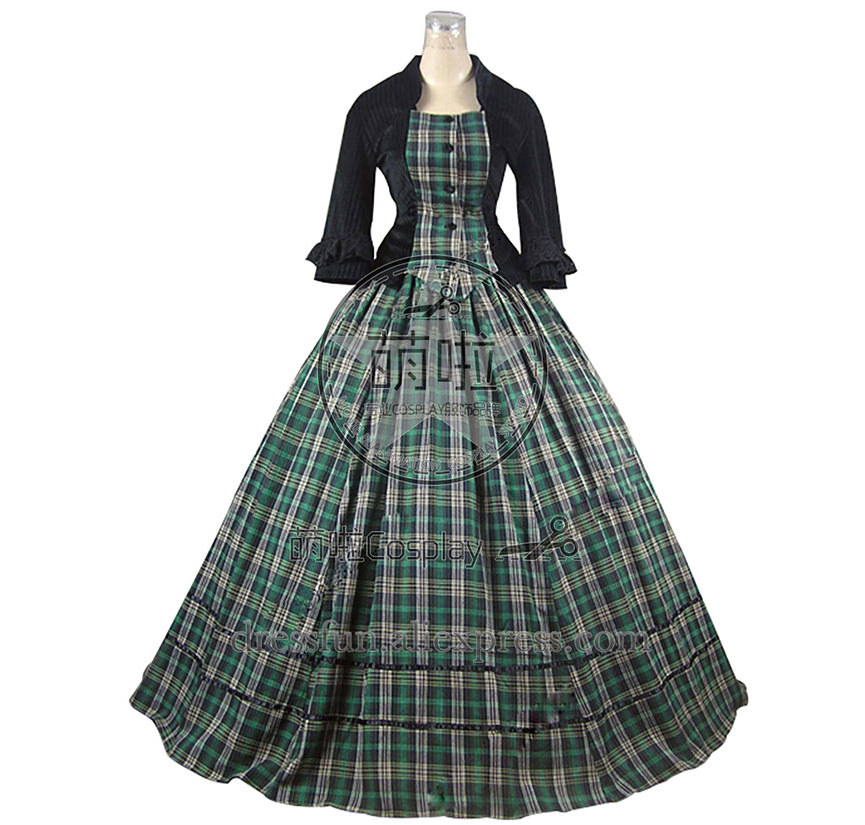Civil War Victorian Tartan Ball Gown Day Dress Prom Cosplay ...