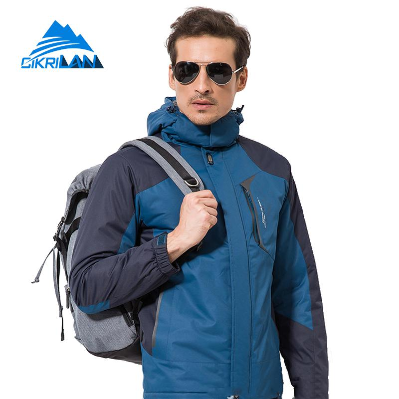 Winter Windbreaker Cotton Padded Coat Fleece Liner Hooded Waterproof Camping Hiking Outdoor Jacket Men Snowboarding Ski Jackets