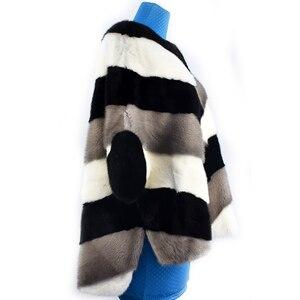 Image 5 - 2020 新リアルミンクの毛皮コートジャケットポケットバットスリーブバットウィングファッション女性の毛皮のコート厚く暖かいストリートスタイル半袖