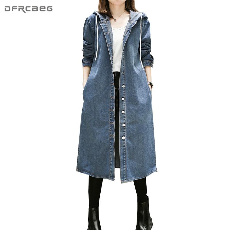 4XL 5XL Vintage Blue Hooded Denim Trench Coat Women 2017 Winter Fashion Jeans Long Coats Long
