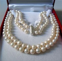 2 Rows 8 9 MM AKOYA SALTWATER PEARL NECKLACE 17 18