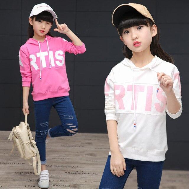 Девушка весна с капюшоном 2017 новых Корейских девочек мода Футболка С Капюшоном буквы Толстовки и Кофты
