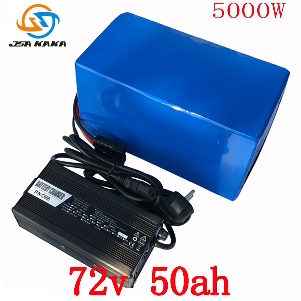 Free Customs Duty 72V 50AH lithium battery super power 5000W Electric bike battery 84V lithium ion battery pack + charger + BMS free customs fee 1000w 36v 17 5ah battery pack 36 v lithium ion battery 18ah use samsung 3500mah cell 30a bms with 2a charger